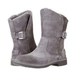 UGG JANNIKA GRAY CHARCOAL SUEDE WINTER BUCKLE 9.5